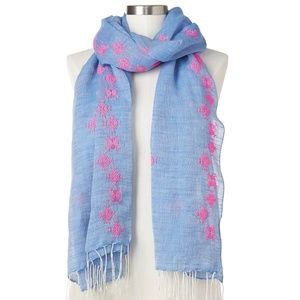 NWT GAP LINEN EMBROIDERED BOHO FRINGE SCARF/SHAWL